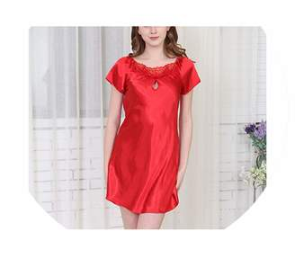Toping Fine Wear Flannel Pajamas Home Dress Satin Cool Women Nightgown Mini  Nightdress Loose Comfortable Ladies a4305ab0d