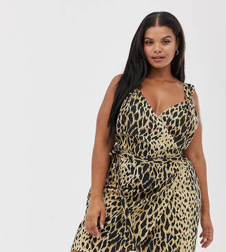 d3a26e5d313 Asos DESIGN Curve linen wrap mini sundress with wooden rings in leopard  print