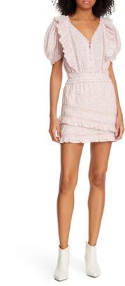 LoveShackFancy Sutton Asymmetrical Tiered Ruffle Cotton Dress
