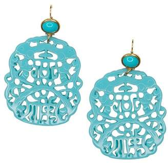 Kenneth Jay Lane Carved Turquoise Pierced Earrings