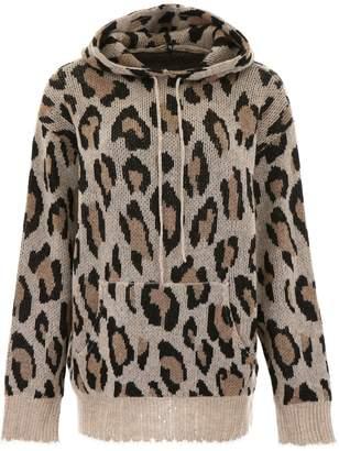 R 13 Leopard-printed Knit Hoodie