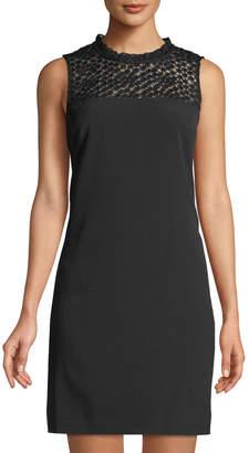 Karl Lagerfeld Paris Circle-Lace Yoke Shift Dress