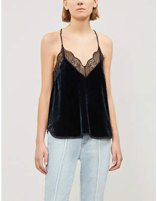 Zadig & Voltaire Christy lace-trim velvet camisole