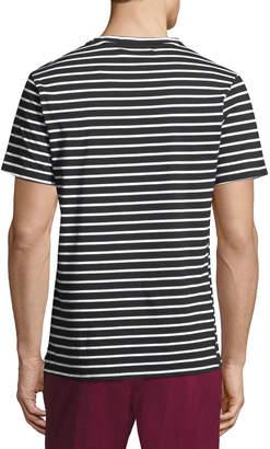 Karl Lagerfeld Paris Striped Zip-Pocket Short Sleeve Tee