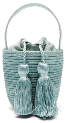 Cesta Collective - Party Pail Silk Tasselled Sisal Basket Bag - Womens - Light Blue