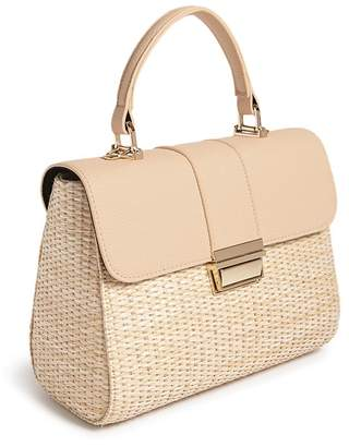 Forever 21 Straw & Faux Leather Handbag