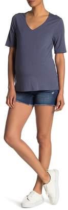 Seven7 Frayed Denim Shorts (Maternity)