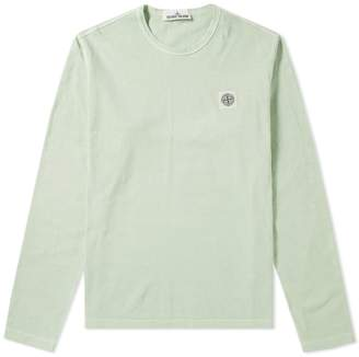Stone Island Long Sleeve Garment Dyed Fissato Effect Slim Tee