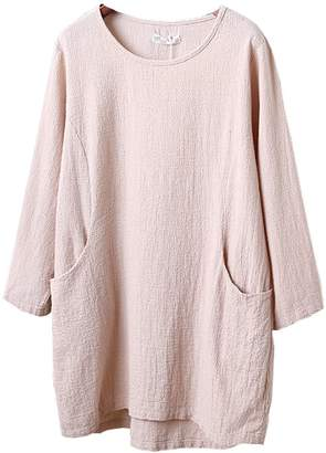 Minibee Women's Cotton Linen 4/5 Sleeve Tunic/Top Tees (L, )