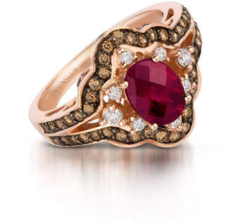 LeVian CORP Grand Sample Sale by Le Vian Raspberry Rhodolite and Chocolate & Vanilla Diamonds Ring in 14k Strawberry Gold