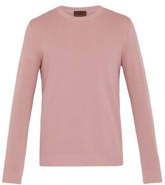 Altea Ribbed Crew Neck Cotton Sweater - Mens - Pink