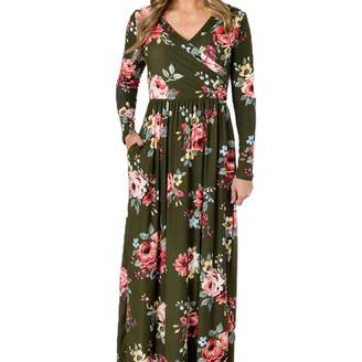KOERIM Women's Summer Floral Printed Empire Long Maxi Dresses with Pockets