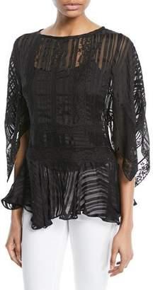 Zimmermann Breeze Veil Long-Sleeve Lace Blouse