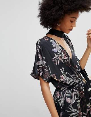 New Look Floral Shirred Waist Wrap Romper