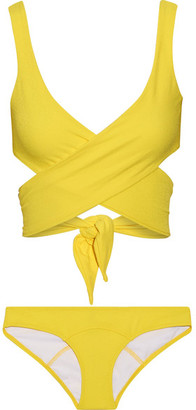 Lisa Marie Fernandez - Marie-louise Crepe Wrap Bikini - Bright yellow $385 thestylecure.com