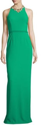 Marchesa Notte Sleeveless Embellished Halter Column Gown, Emerald $795 thestylecure.com