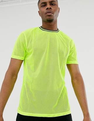 Asos Design DESIGN relaxed t-shirt in neon mesh with tipping