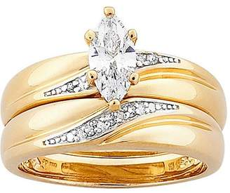 Generic 1.3 Carat T.G.W. Marquise-Cut CZ and Diamond Accent 18kt Gold-Plated Wedding Ring Set