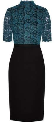 Catherine Deane Metallic Guipure Lace-Paneled Knitted Dress
