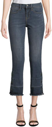 Nicole Miller New York Mid-Rise Straight-Leg Cropped Gaslight Jeans with Buttons & Raw Hem