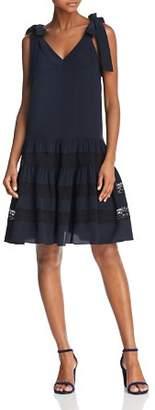 Rebecca Taylor Lace-Inset Silk Dress