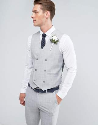 Asos DESIGN Wedding Skinny Suit Vest in Crosshatch Nep Light Gray With Floral Print Lining
