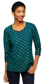 Susan Graver Crinkle Knit Tunic w/ 3/4 RuchedSlvs & Foil Dot