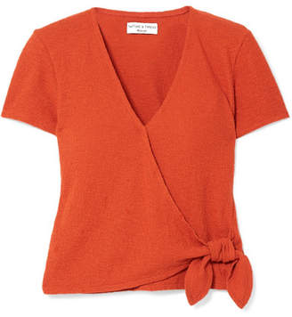 Madewell Miller Textured Stretch-cotton Wrap Top - Orange