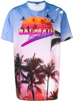 Balmain palm logo print T-shirt