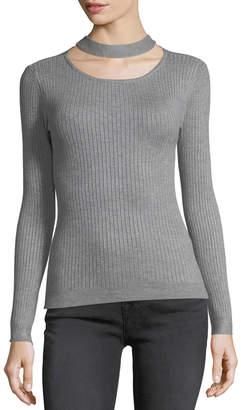 Carmen Marc Valvo Carmen By Ribbed Choker-Neck Sweater