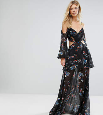 White Cove Tall Premium Cold Shoulder Maxi Dress In All Over Dark Floral Print