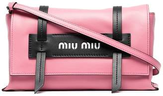 Miu Miu pink logo embossed leather shoulder bag