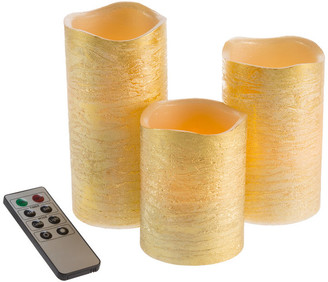 Gold Metallic Flameless LED Candles-Set of 3 Real Wax with Remote by Lavish Home