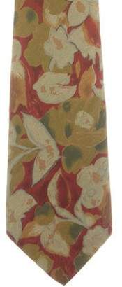Fendi Floral Print Silk Tie