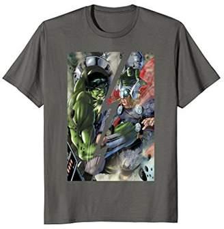 Marvel Hulk vs Thor Split By Lightning Graphic T-Shirt