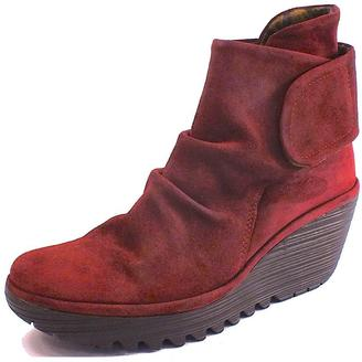 Fly London Red Suede Bootie $189 thestylecure.com