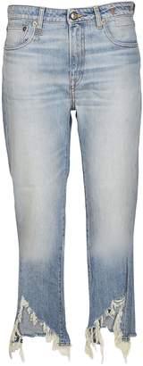 R 13 Torn Kick Fit Jeans