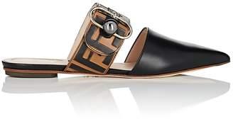 Fendi Women's Buckle-Strap Leather Mules