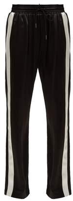 Burberry (バーバリー) - BURBERRY Side-stripe silk-satin track pants