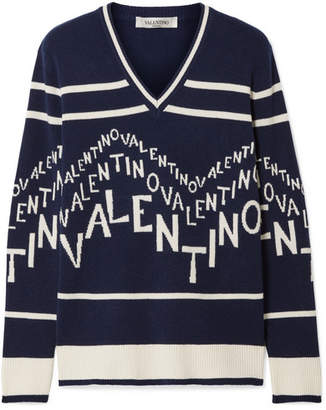 681d0026539b0 Valentino Intarsia Wool And Cashmere-blend Sweater - Navy