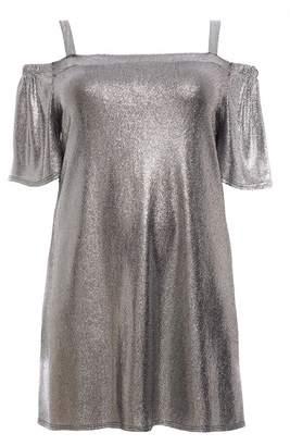 Quiz Curve Silver Foil Cold Shoulder Tunic Dress