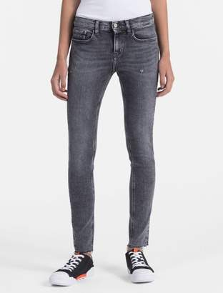Calvin Klein skinny fit mid rise faded black ankle jeans