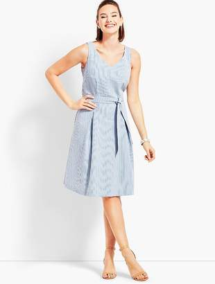 Talbots Belted Seersucker Fit-and-Flare Dress