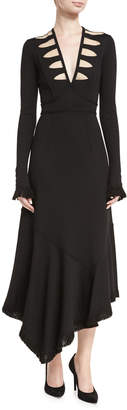 Andrew Gn Long-Sleeve V-Neck Illusion Midi Dress