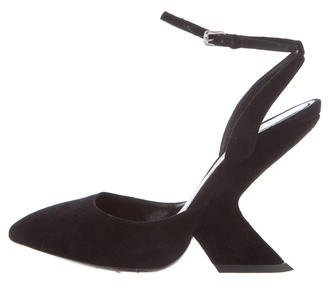 Christian Dior Suede Ankle Strap Pumps