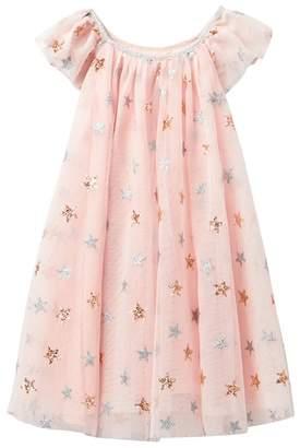 Zunie Flutter Sleeve Two-Tone Glitter Star Dress (Toddler & Little Girls)