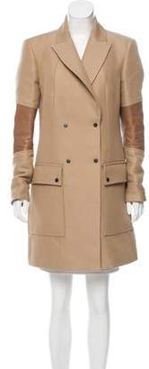 Belstaff Leather-Accented Knee-Length Coat