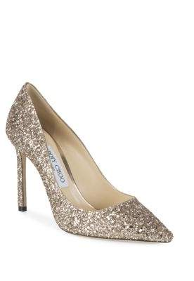 Jimmy Choo Shadow Coarse Glitter Point Toe Pumps