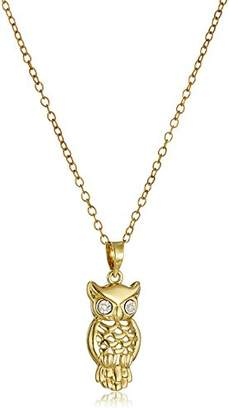 14k Plated Sterling Silver Diamond-Accent Owl Pendant Necklace