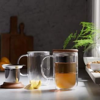 clear Viva Scandinavia VIVA Scandinavia Minimal Balance Double-Walled Glass Teacup with Infuser, 19.5-ounce, Clear, Set of 2